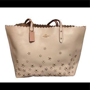 ivory coach bag, large, flower details